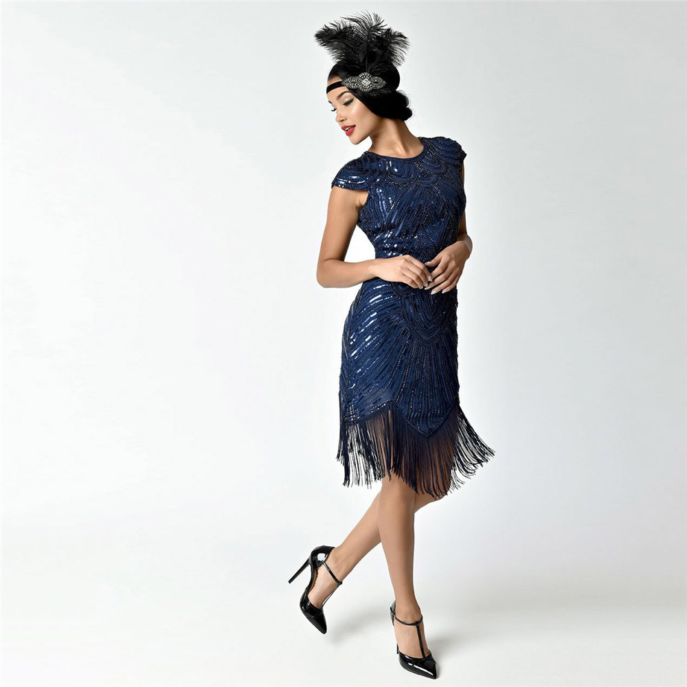 20s Flapper Fancy Dress Charleston Gatsby Sequin Tassel Dance Dress Costume