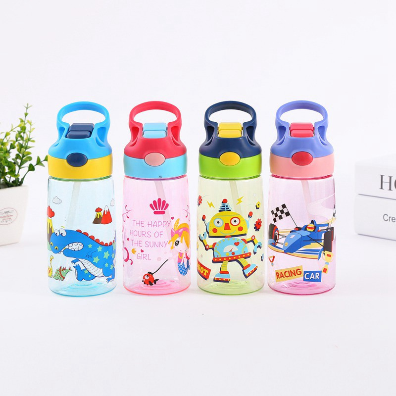 Portable Baby Children Kids Drinking Water Bottle Straw Bottle Sippy Suction Cup