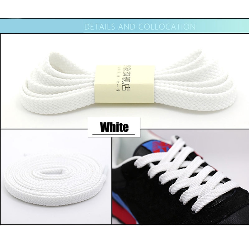 120cm SELLM 8mm Wide of Flat Shoelaces Shoe Laces for Sneakers Sport Shoes 24 Colors 80cm 160cm,No 1 White,80cm 100cm 140cm