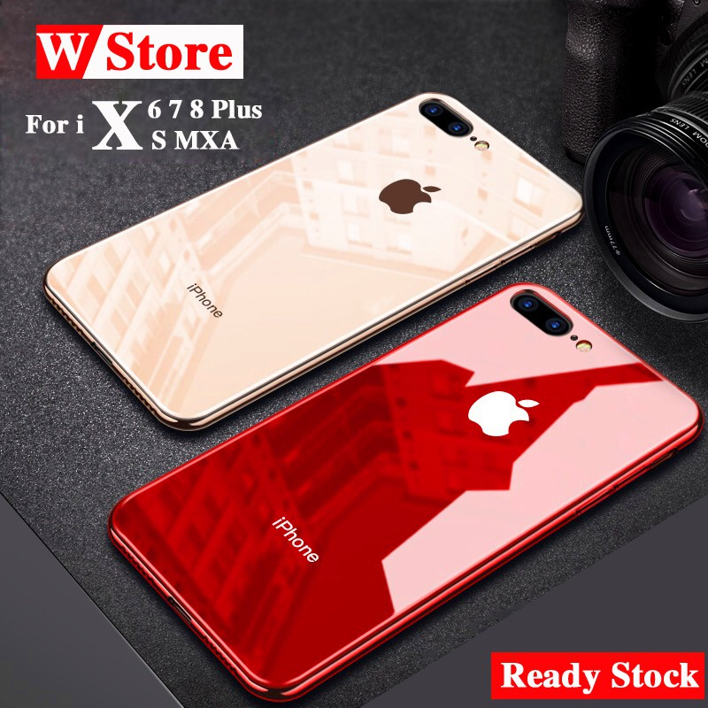 Ready stock iPhone X 6 6S 7 8 Plus tempered glass case Stylish Simple hard  Cover