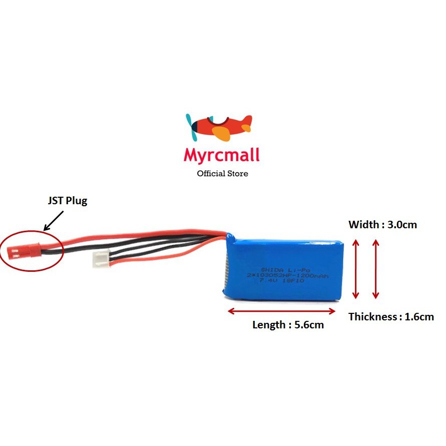 7.4v 1200mah JST Plug Lipo Battery RC Helicopter Quadcopter Drone Car on