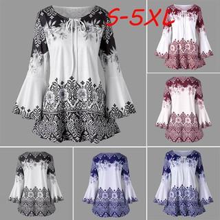 fc5446b3e3907 Fashion Womens Plus Size Printed Flare Sleeve Tops Blouses Keyhole T-Shirts
