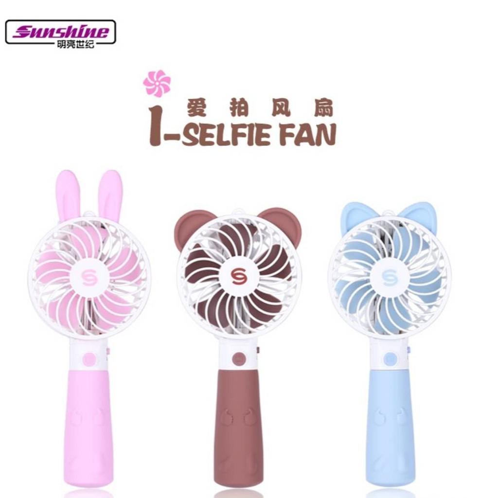 I SELFIE FAN Portable Mini Rechargeable Fan With Selfie Stick 360 Rotation