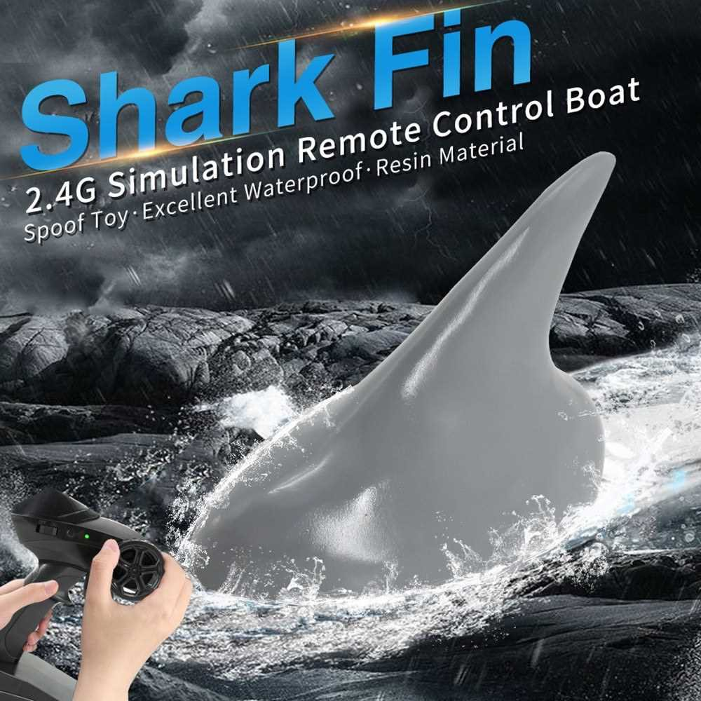 Flytec V302 RC Boat with Simulation Shark Fin Head 15km/h Electric Racing Boat for Pools 2.4G Remote Control Spoof Toy