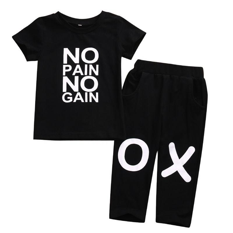 5ca4a8e8c9 Toddler Kids Baby Boy Outfits Clothes No pain no gain T-shirt Top+Pants 2pcs