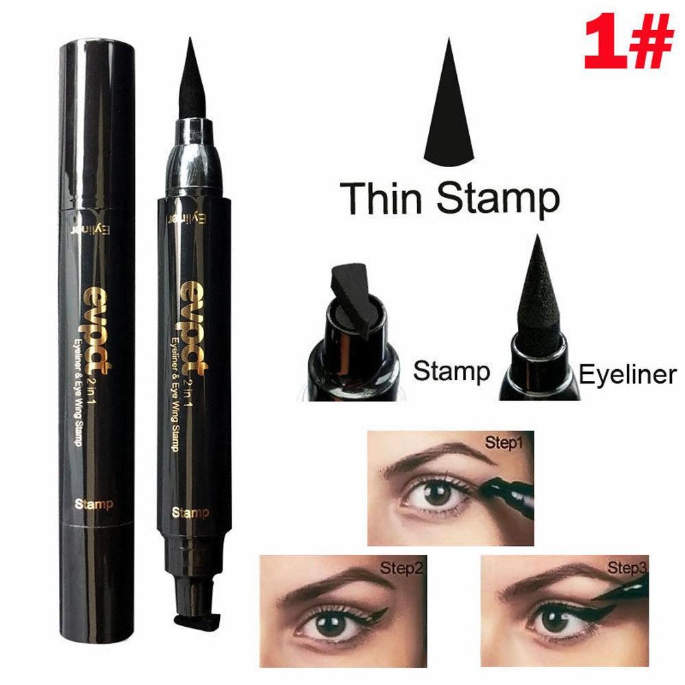 Winged Eyeliner Stamp Waterproof Make up Cosmetic Eye Liner Pencil Black Liquid