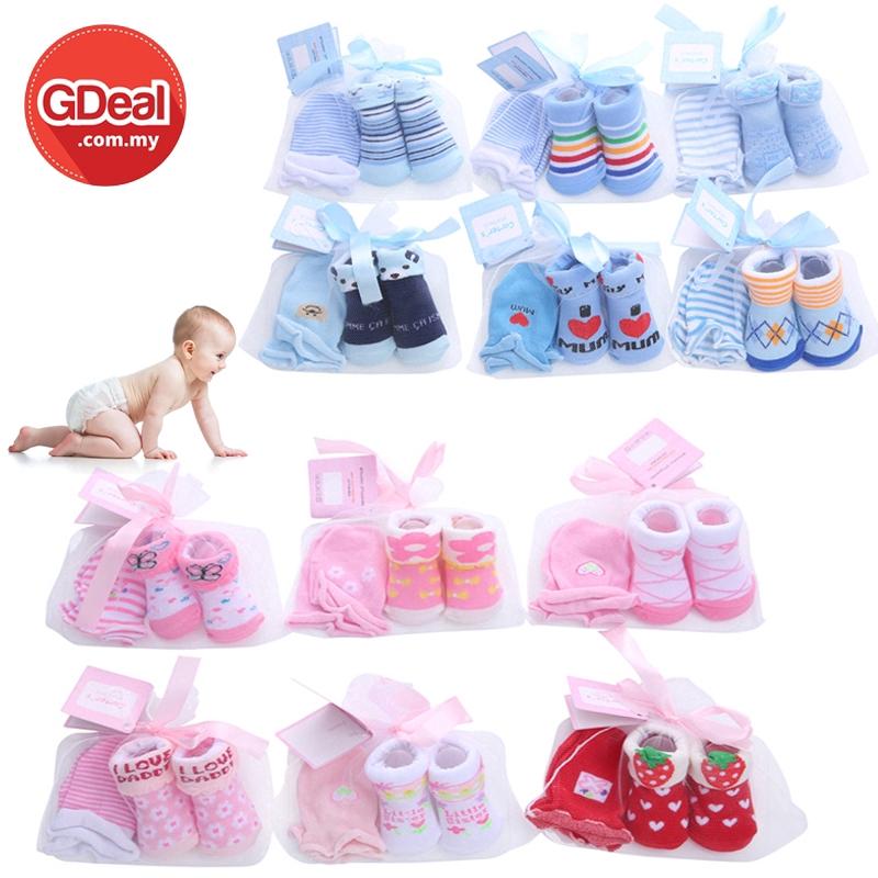 GDeal Cute Newborn Baby Socks And Gloves Set Non Slip Cartoon Cotton Socks And Gloves (Random Design)