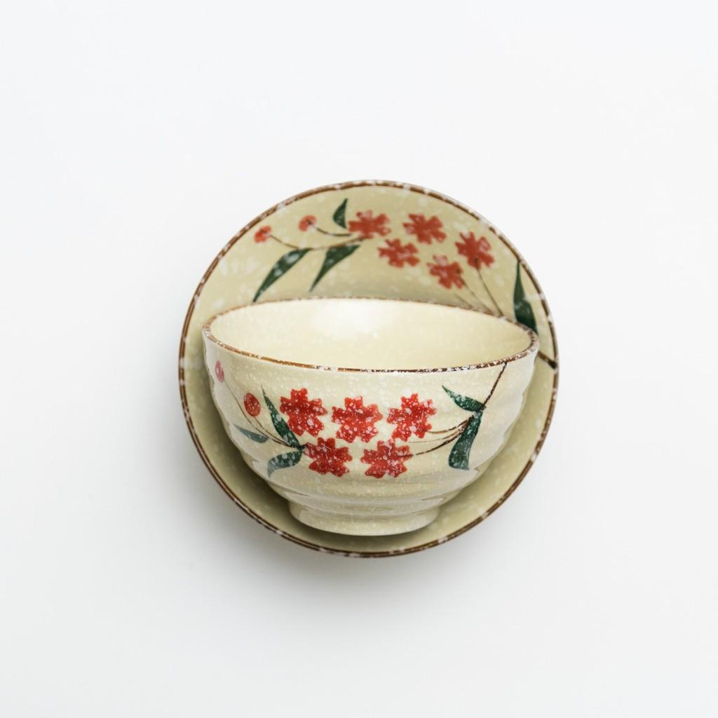 11/13cm Japanese Snowy Red Plum And Jade Blue Ramen Bowl Cute Mini Ceramic Bowl日式古典风陶瓷
