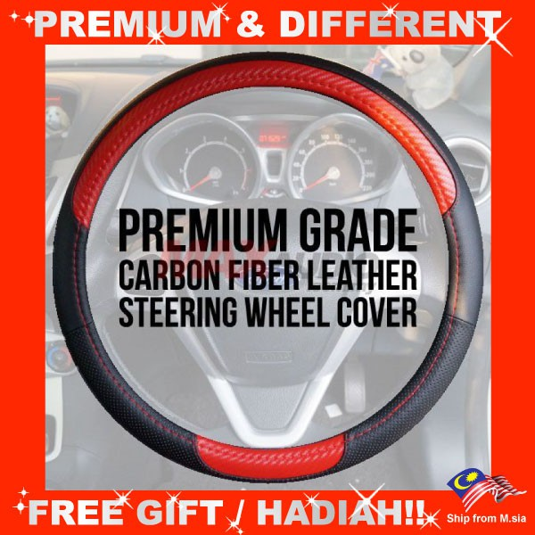 """[FREE Gift] Premium Quality TGR Carbon and Micro Fiber Leather Steering Wheel Cover (15"""")"""