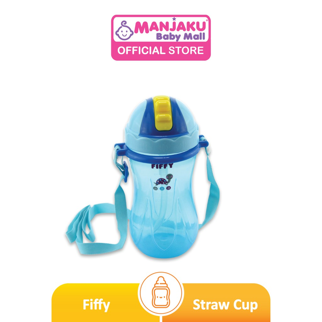 Fiffy Polypropylene Straw Cup with Strap - Assorted Color (360ml)