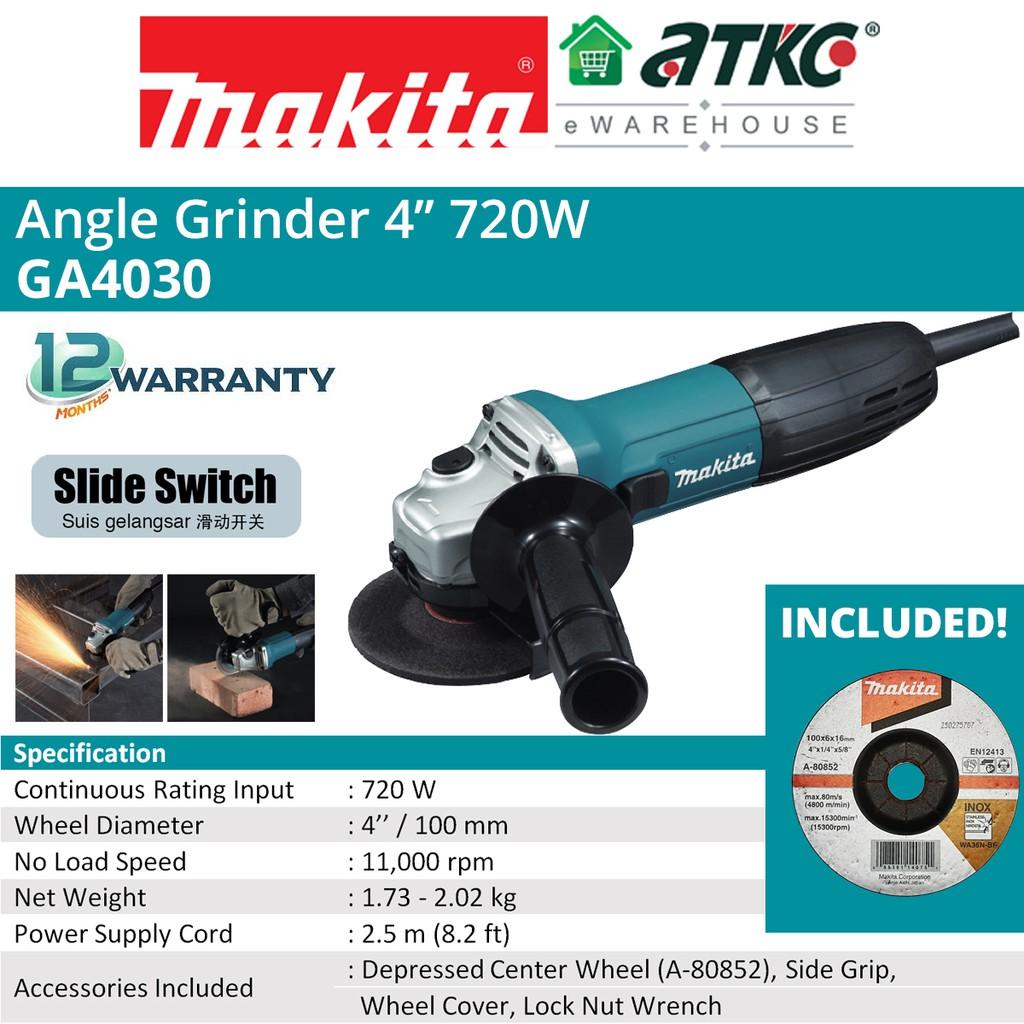"""MAKITA GA4030 Angle Grinder 4"""" 720W"""