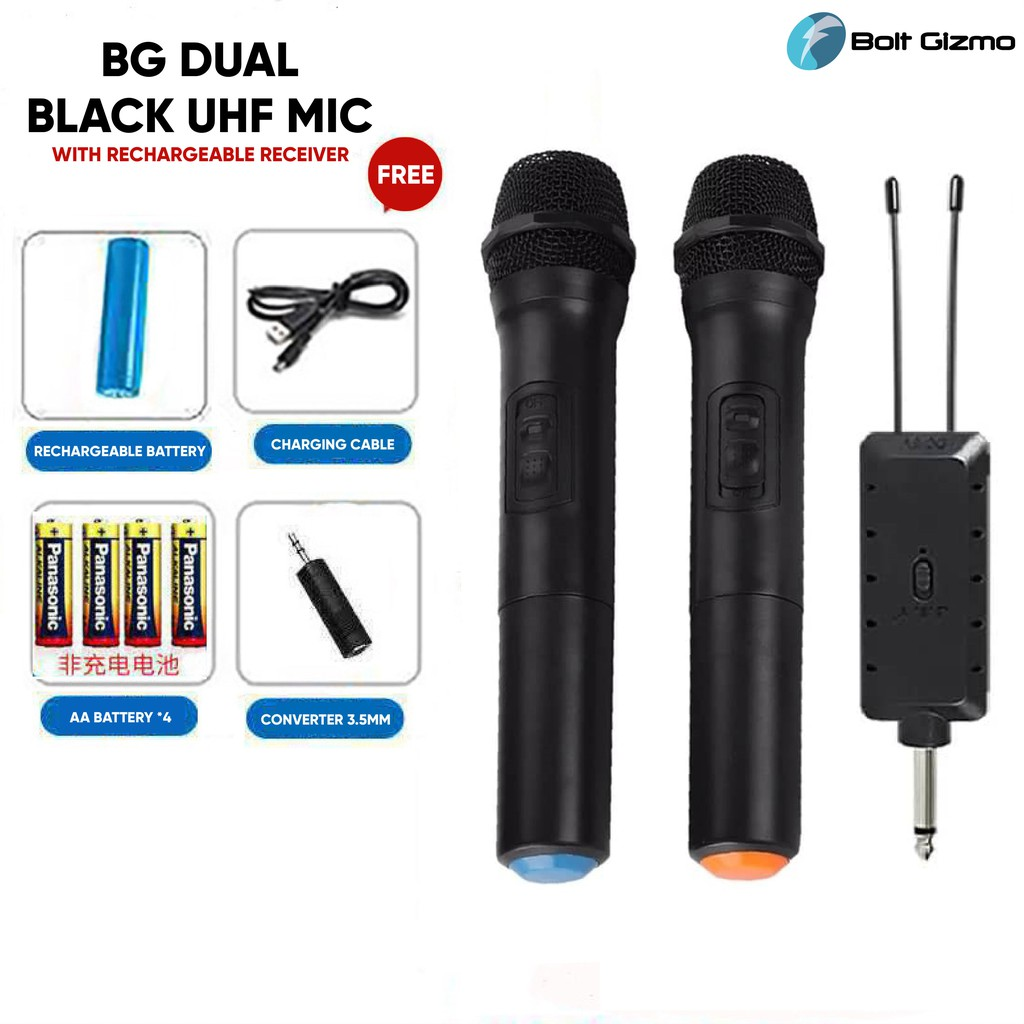 BG DUAL BLACK UHF MIC Professional Dual Wireless Microphone with Rechargeable Receiver 6.3mm System Karaoke Mic Speaker