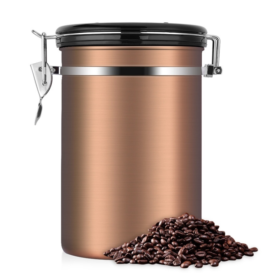 Coffee Container Large Airtight Stainless Steel Black Kitchen