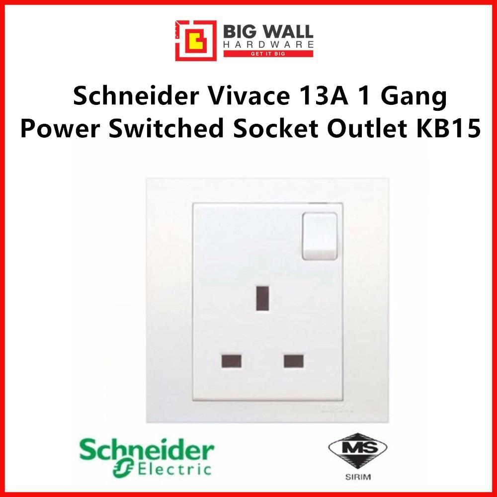 Schneider Vivace 13A  250V Power Switched Socket Outlet KB15 Big Wall Hardware