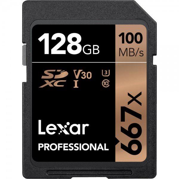 Lexar Professional 667x 128GB SDXC High Transfer SD Card Class 10 4K V30 100MB/s