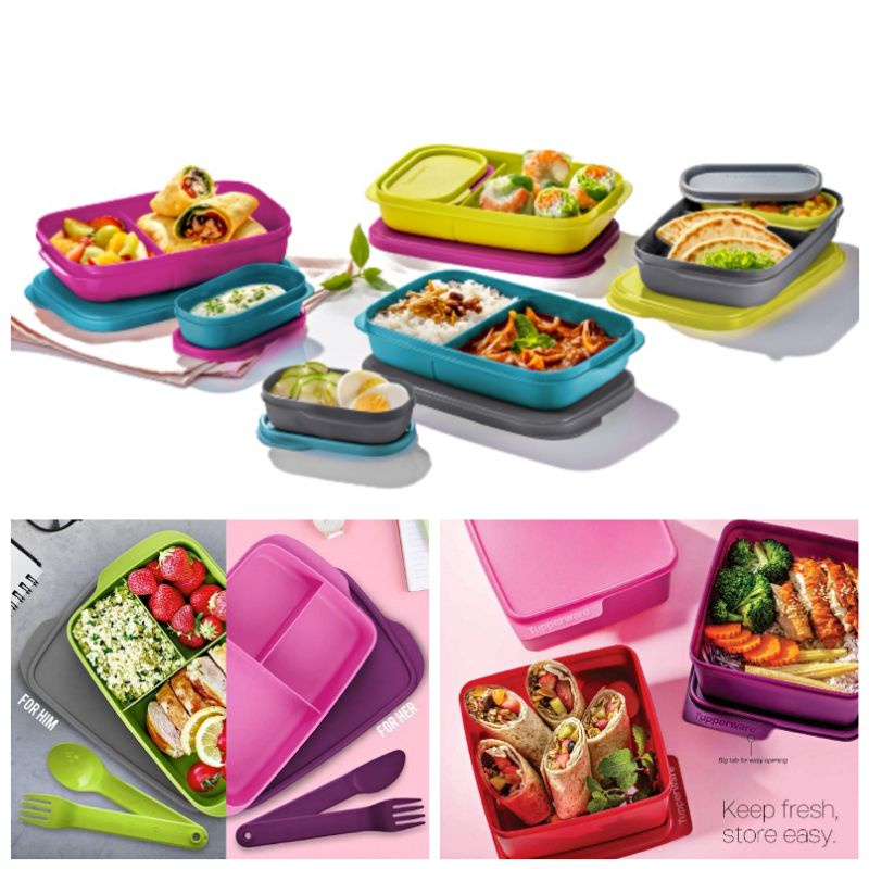 READY STOCK Tupperware Foodie Buddy Foodie Buddies Jollytup Jolly Tup Divided LunchBox Jollitup
