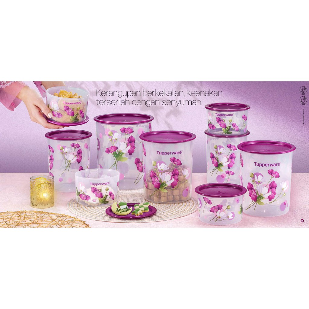 *Tupperware Royale Bloom One Touch Canister Medium 1.25L/2L/ 3L/ Topper (600ml)