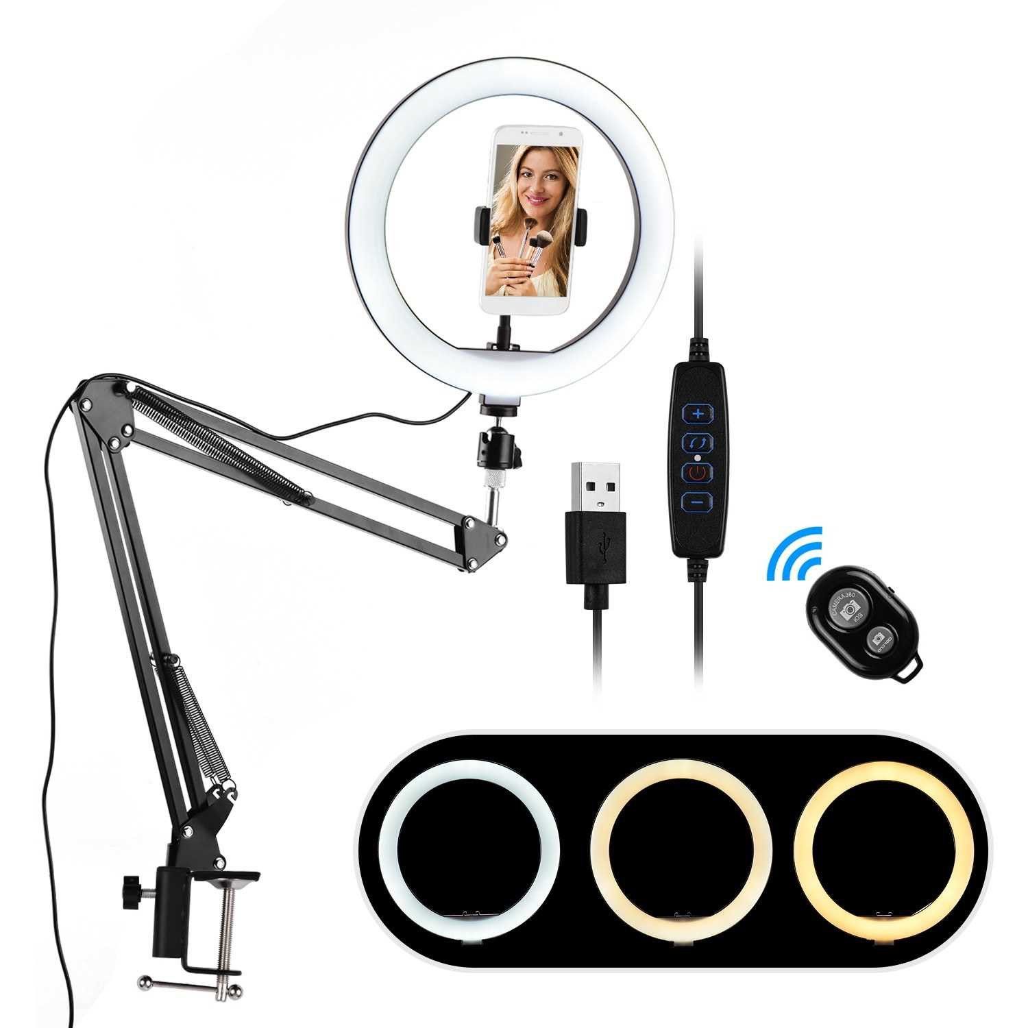 10 Inch Mini LED Ring Light Photography Fill-in Light 3 Lighting Modes Dimmable USB Powered with Flexible Clip-on Light