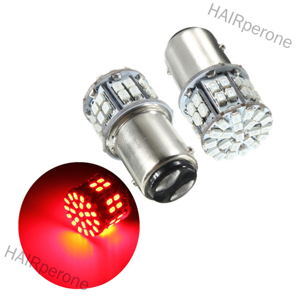 HAIRperone Pack of 2 Super Bright BAY15D 1157 50SMD 1206 LED Car Brake Light, DC 12V 50 LEDs Auto Rear Tail Lights, Red