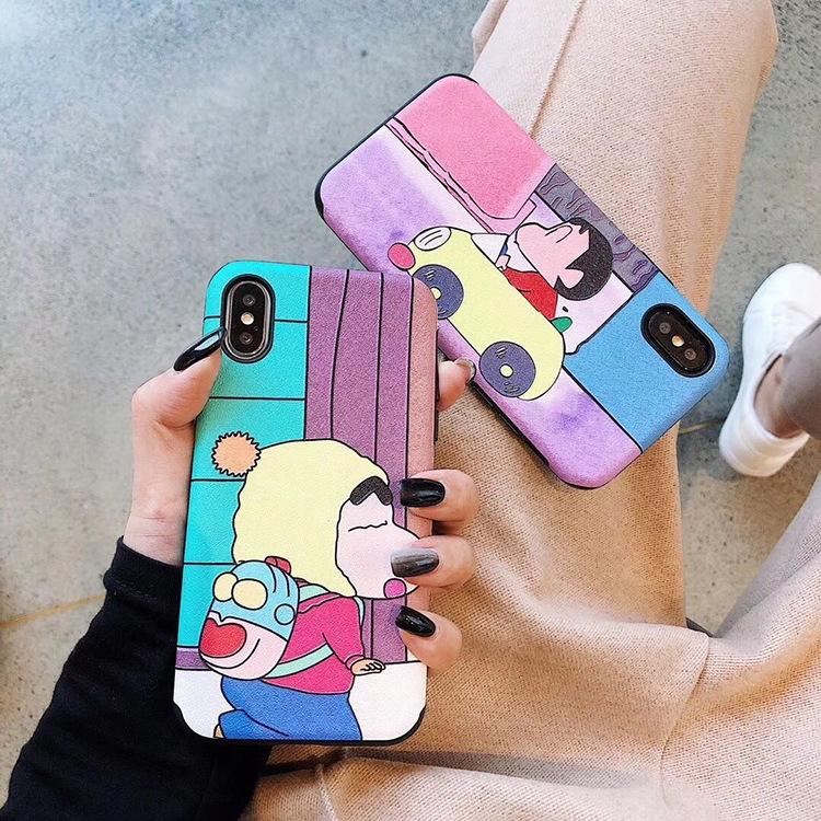 free shipping d89e8 f6961 iPhone 6 6s 7 8 Plus X XS XR XSmax Crayon Shinchan Silk pattern Case