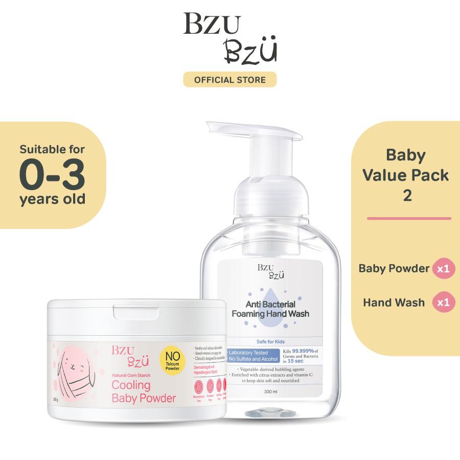 BZU BZU Baby Value Pack 2 - Cooling Baby Powder (140g) + Foaming Hand Wash (300ml)