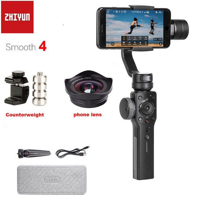 Zhiyun-Tech Smooth-4 Smartphone Gimbal cine-style functions to content  creators using their mobile phones for video