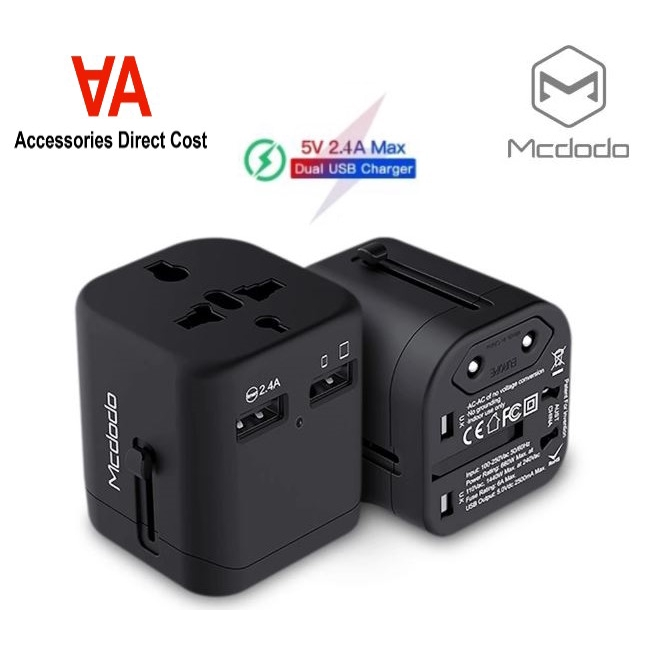 Mcdodo International Travel Adapter Worldwide Charger 2 USB Converters for EU UK US AU