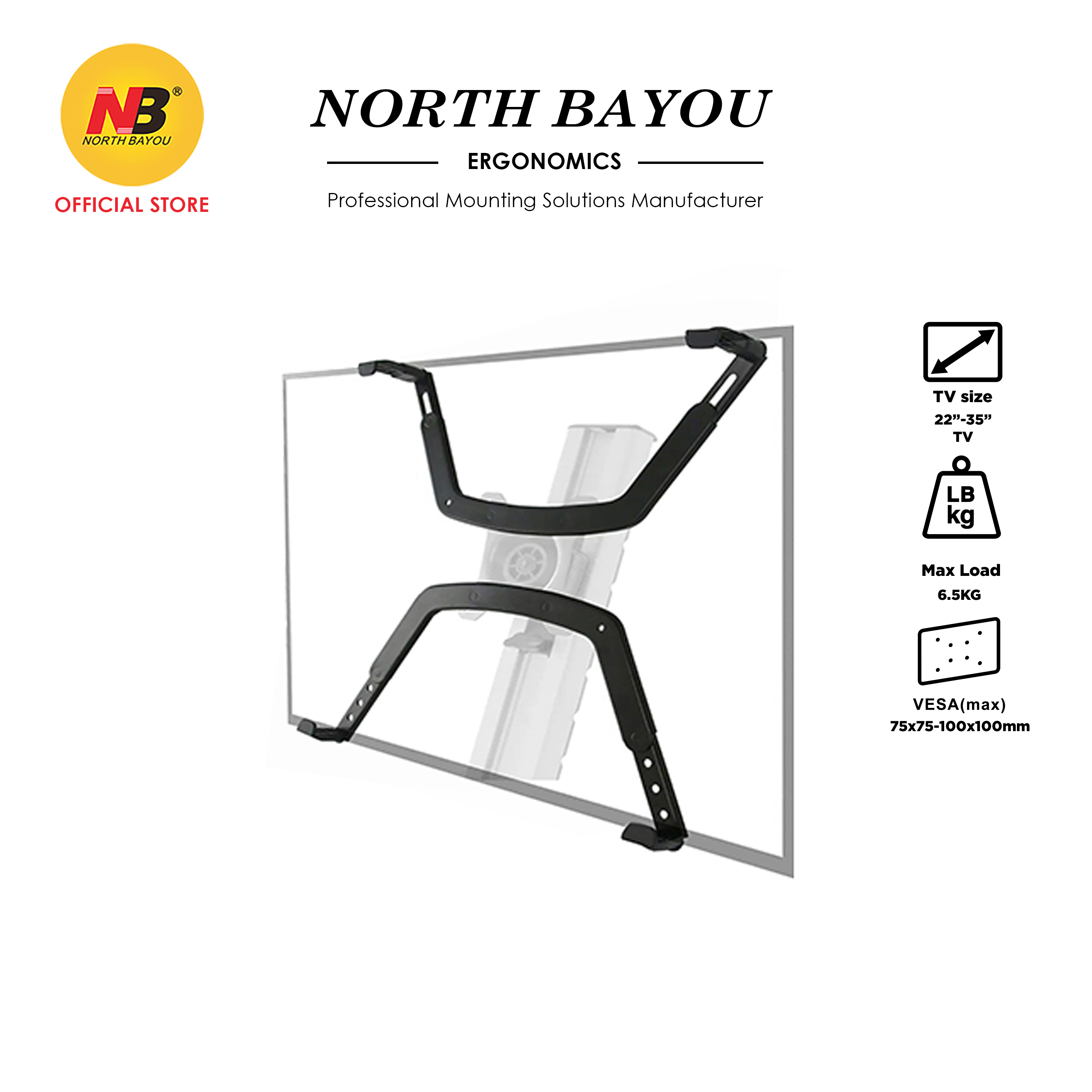 NB FP-1 Extension VESA Adapter Fixing Bracket Monitor Holder for 17-27 inch No Mounting Hole Monitors
