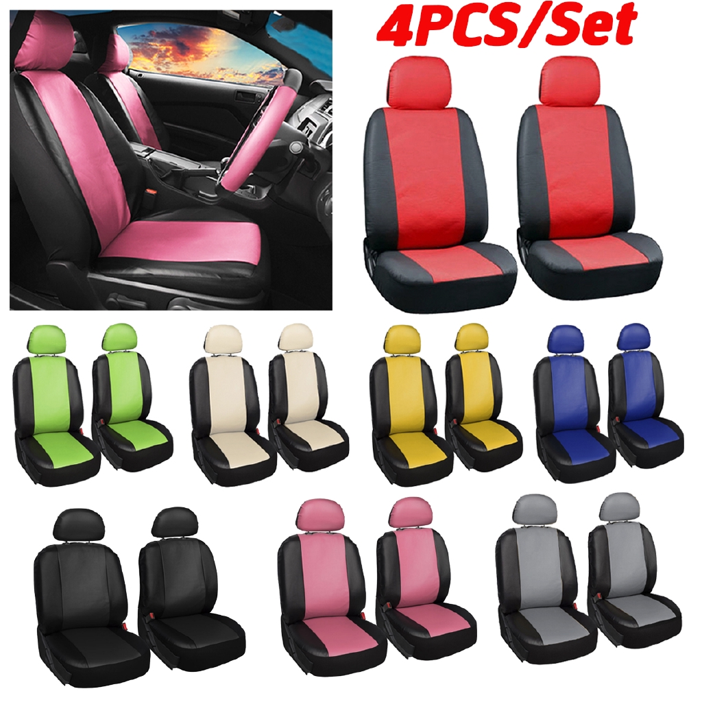 4PCS Universal Car Front Seat Cover PU Leather Breathable Protection Cover  //