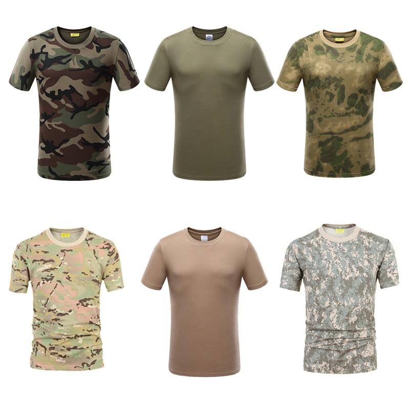 Tactical Military Camouflage Man T-shirt US Army Combat Short Sleeve Hunting