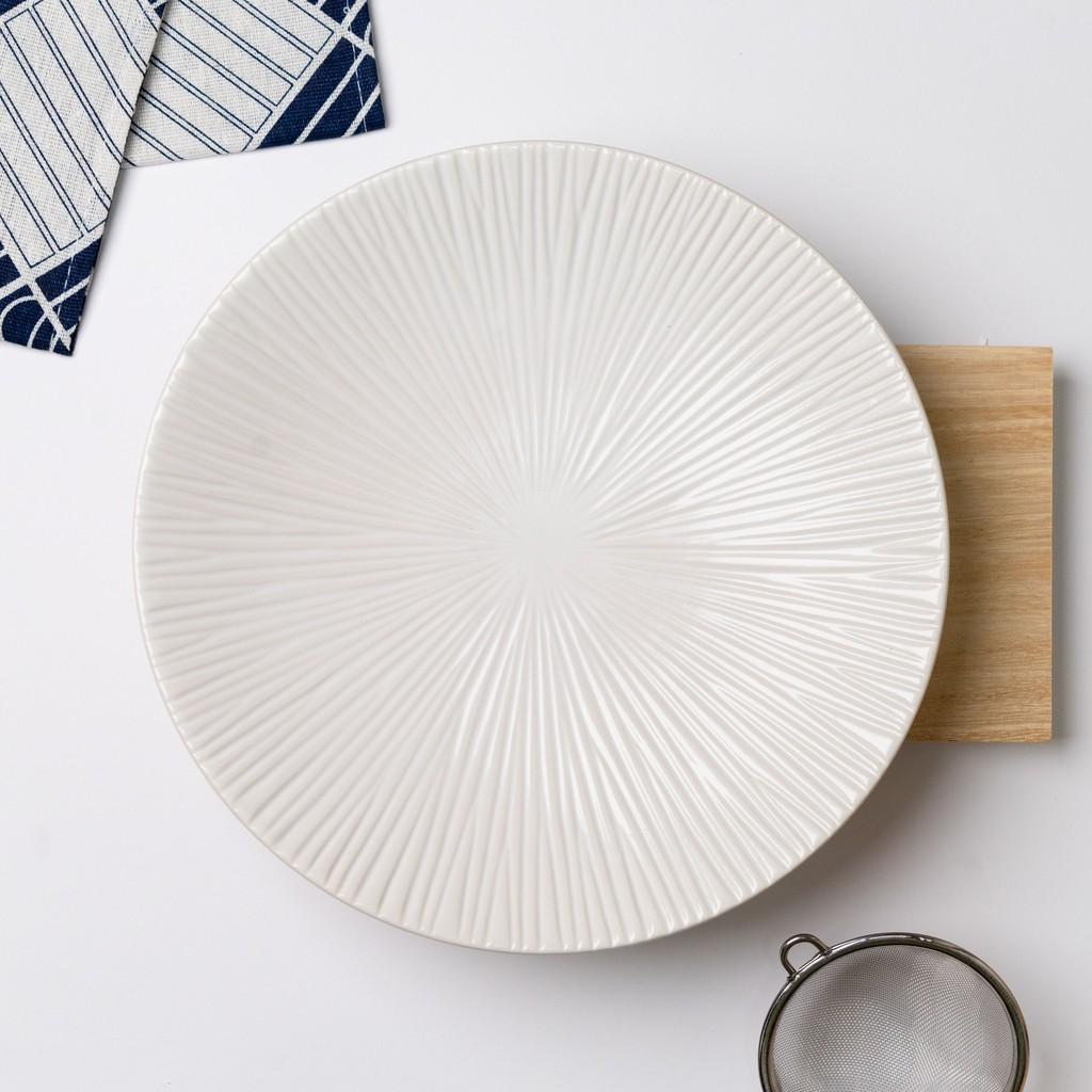 22.5cm Western Black / White Stripe Nordic Plate Ceramic Tableware Plate Dining Plate Pinggan 欧式条纹碟盘