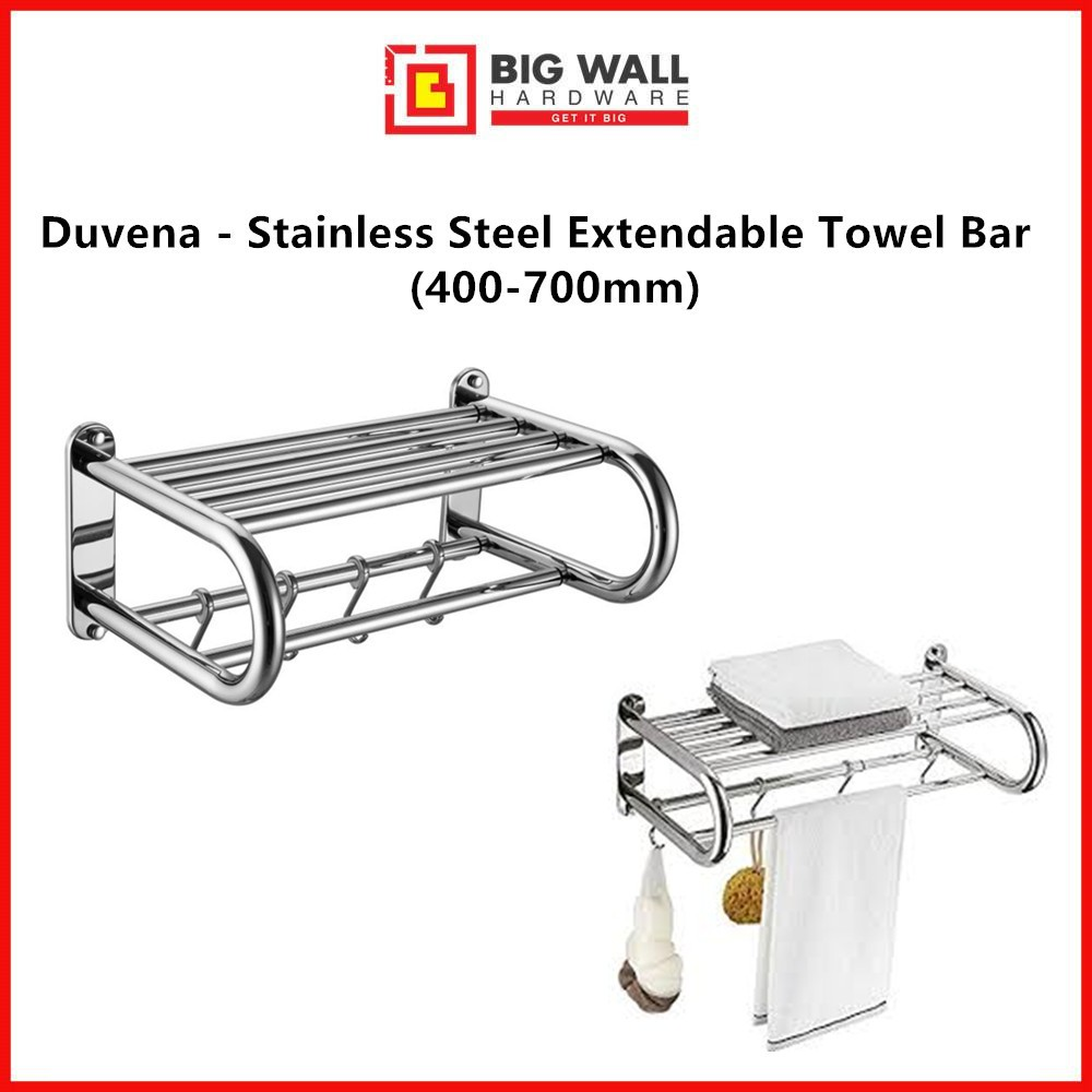 Duvena - Stainless Steel Extendable Towel Bar for Bathroom/Kitchen (Size: 400-700mm) (Duva 1470) Big Wall Hardware