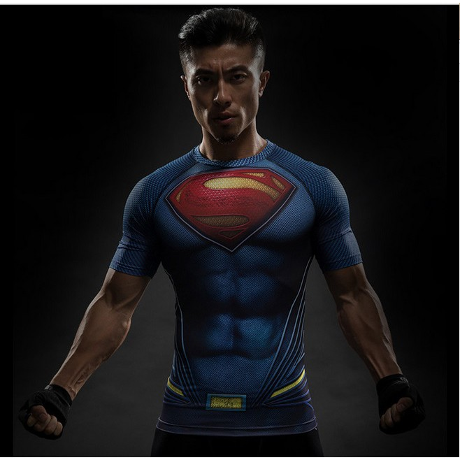 🚛Ready stock Local📦 3D Marvel Men Sport Fitness Ironman Short Sleeve T-shirt Quick Dry