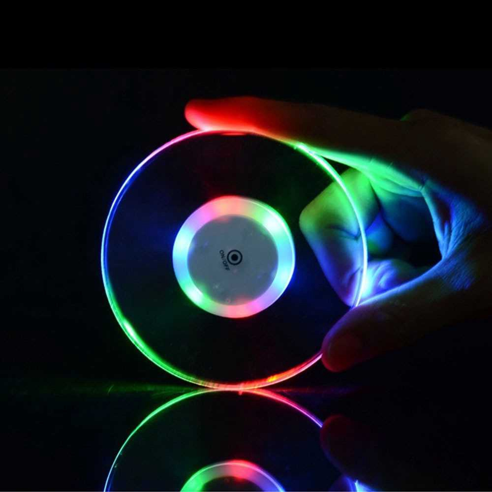 Acrylic Ultra-thin Led Coaster Round Shape Luminous Coaster Cup Mat Cocktail Beverage Coasters Home Party Club Bar Supp