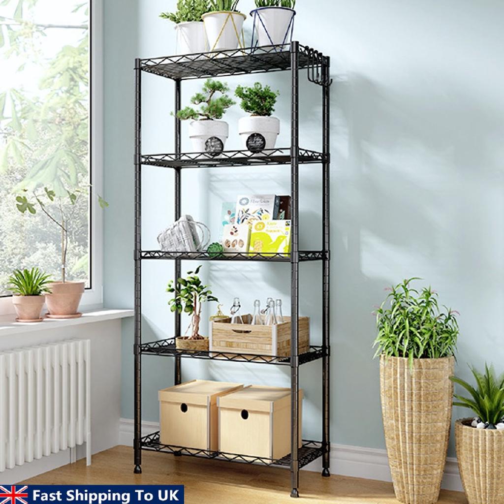 3//4//5 Tier Wire Shelving Unit Metal Shelf Storage Rack Kitchen Garage Organizers
