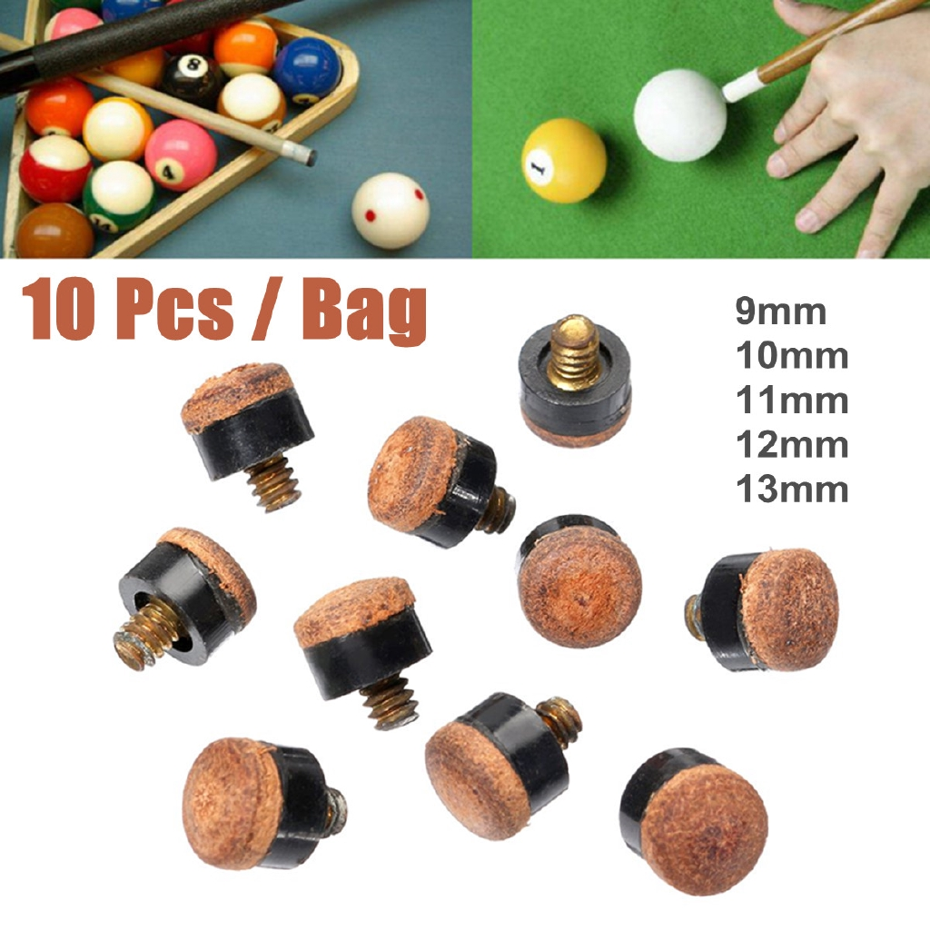 New Set of 10 Screw In Pool Cue Tips Screw On Cue Tip Size 11mm Hard
