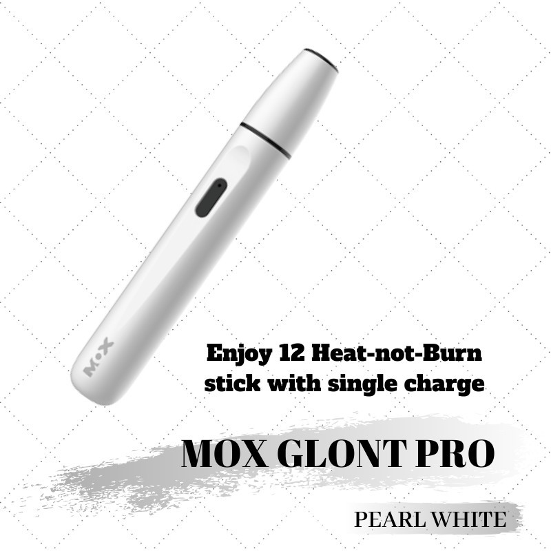 MOX Glont Pro - HEAT NOT BURN Free Gift Cleaning Device 12 Continuous Sticks in SIngle Charge (Pearl White)