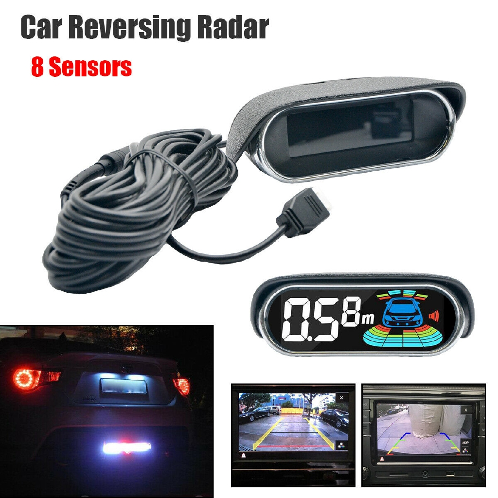 Car Vehicle 8 Sensors Parking Reverse Radar System Front Rear Camera  Detector