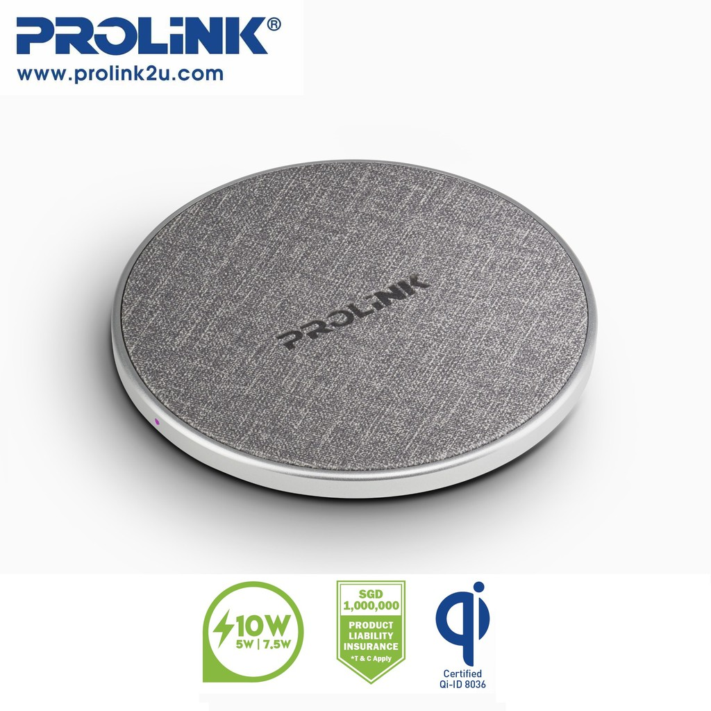 PROLiNK 10W Qi Wireless Charging Pad Slim Fabric PQC1005 For iPhone 8 8+ X XS XMAS 11 Pro Samsung S8 S8+ S9 S9+ S10 S10+