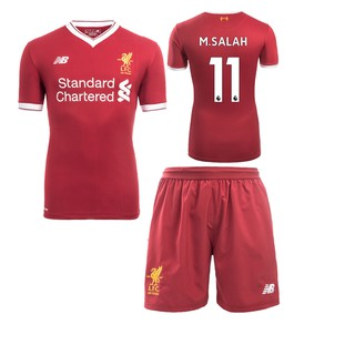 sale retailer 7a2bc 7c90f [In stock now] Men's 2017/18 Liverpool M.SALAH home kit football jersey &  shorts