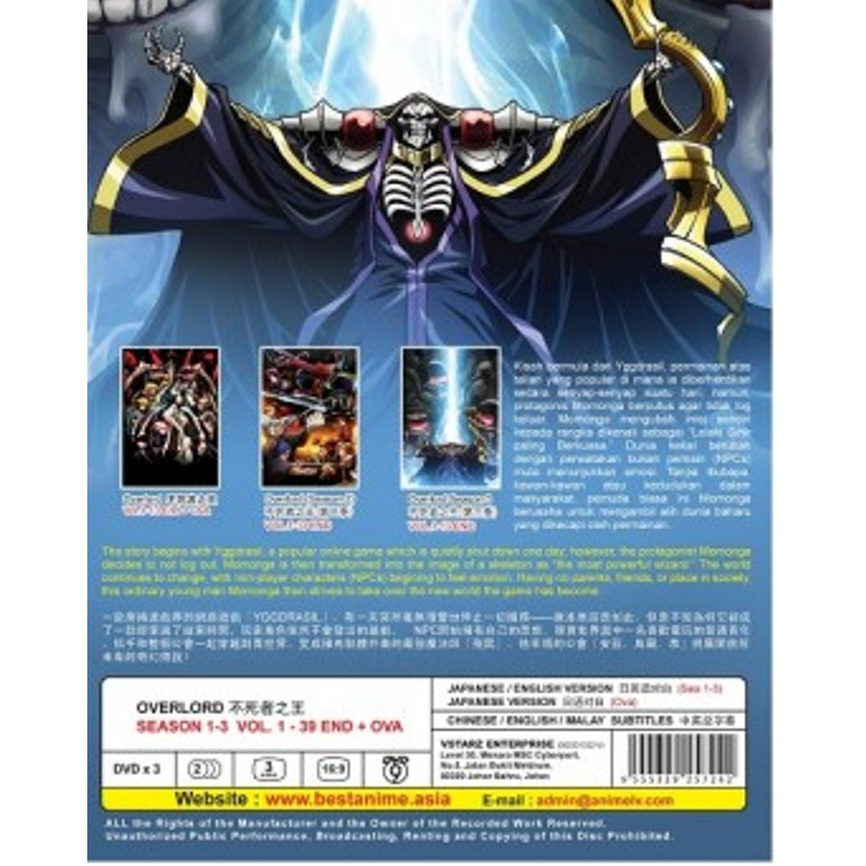 ENG DUB * OVERLORD SEASON 1-3 VOL 1-39 END + OVA ANIME DVD