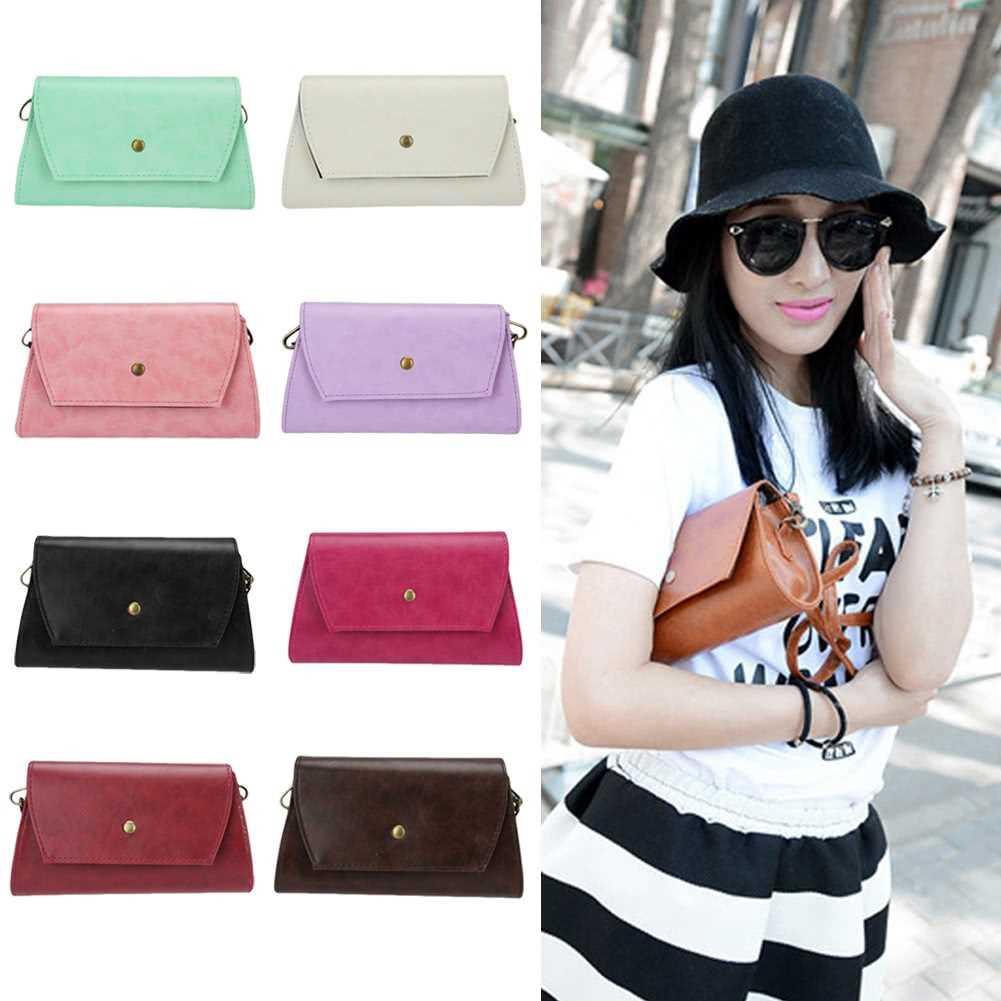 Fashion Women Shoulder Bag PU Leather Flap Front Magnetic Press Stud Closure Crossbody Bag (Pink)
