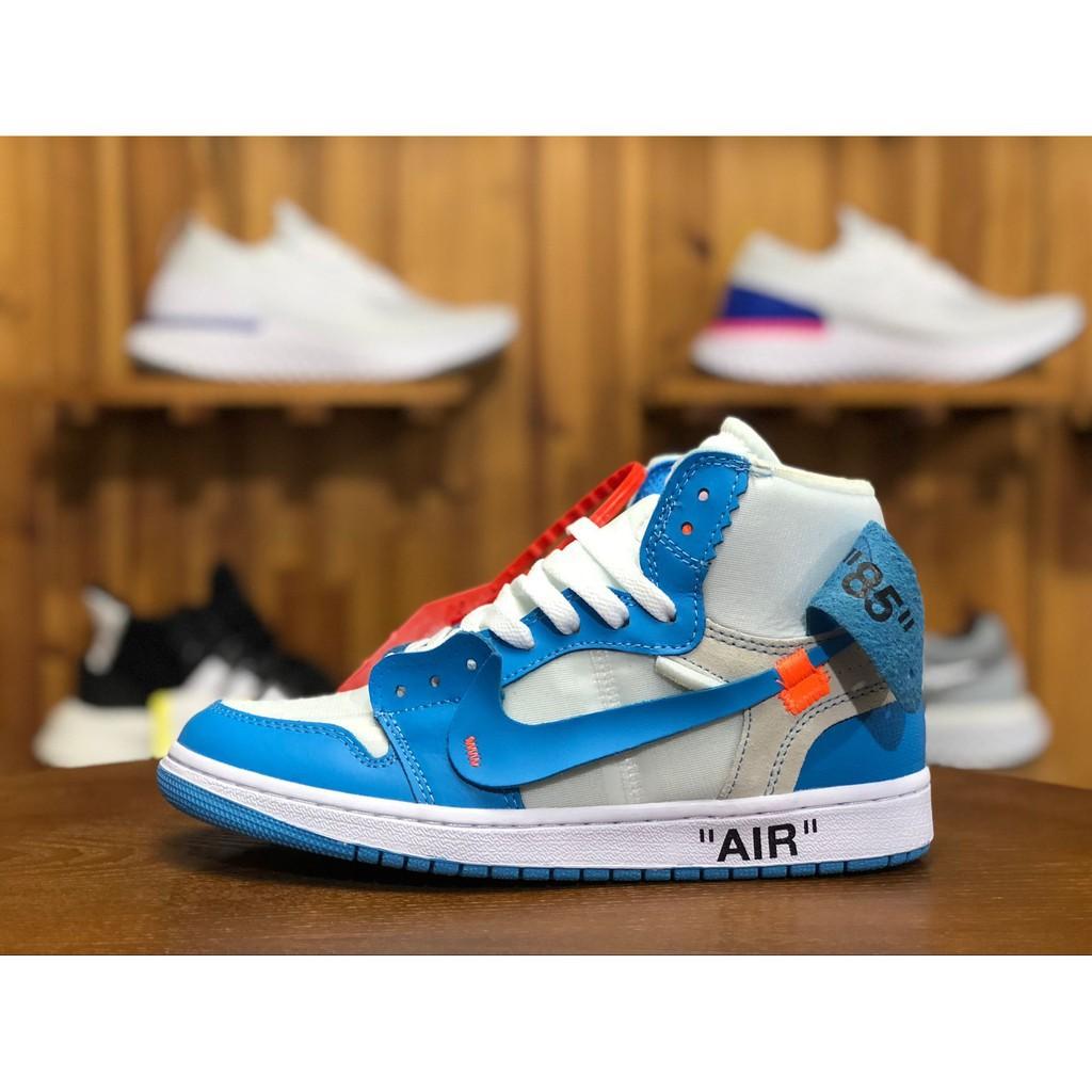 official photos 88523 40f4f Feidu Air Jordan 1 off white AJ1 ow North Carolina Blue UNC AQ0818-148