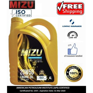 Mizu Mineral Lubricant 20W-50 / 15W-40 Genuine Engine Oil - 4 litres