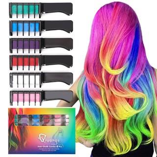 Hair Chalk Comb 6 Pcs Non-Toxic Temporary Hair Coloring