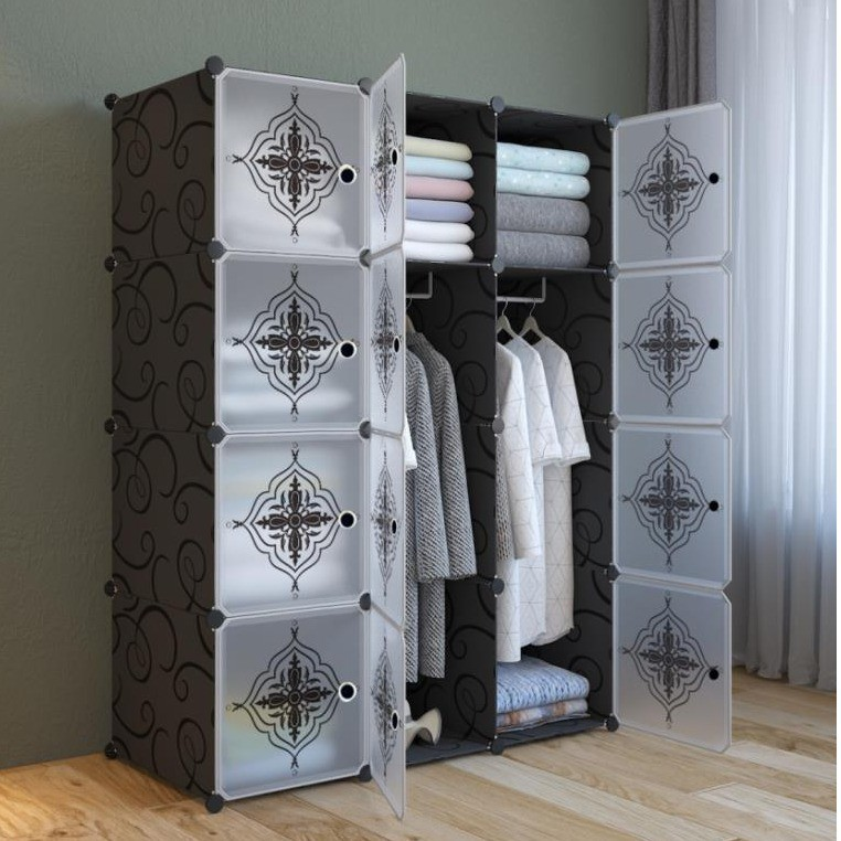 MALAYSIA: FlowerBlack 12 cube Black DIY Multipurpose Wardrobe Cabinet Clothes Storage Organizer Almari Rak