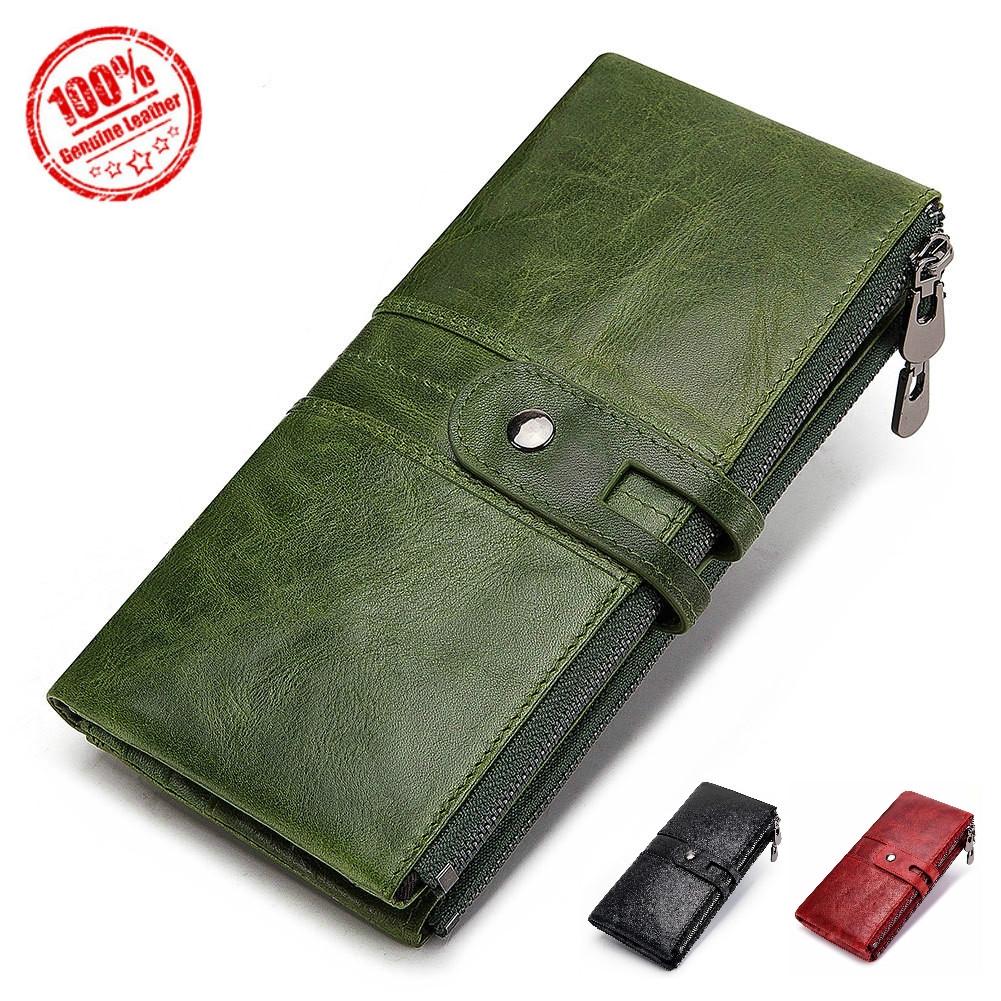 Women Wallet Genuine Leather Long Clutch Money Bag Magic Zipper Coin Purse