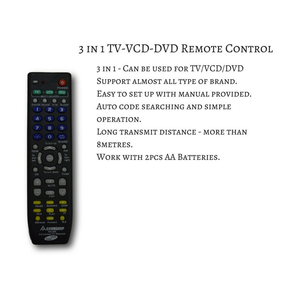 Universal Remote Control 3 in 1(TV/VCD/DVD)