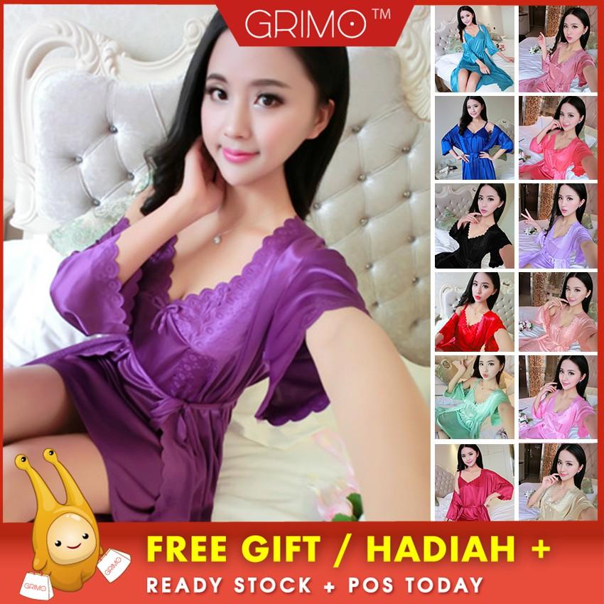 0890a3eaa7 Women Long Sleeve Bandage Sleepwear Bathrobe Silk Satin Kimono Robe  Dressing Gown