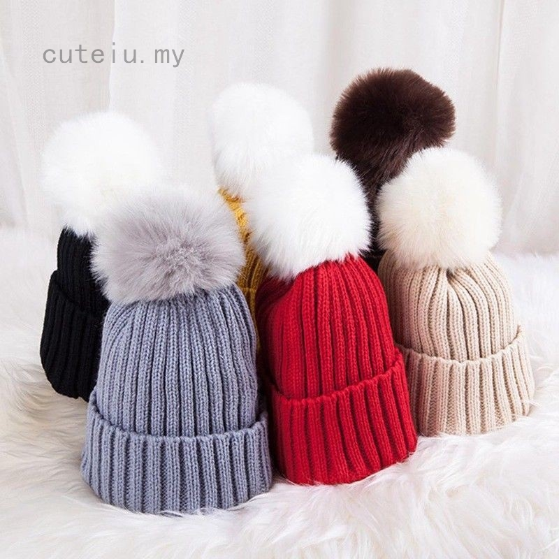 UK/_ WINTER TODDLER BABY BOY GIRL VELVET POMPOM TURBAN HAT PHOTO PROP BEANIE CAP